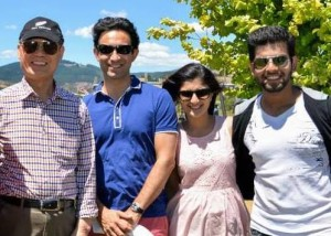 Christchurch Councillors Jimmy Chen and Raf Manji with Shreya Paranjape and Naveen Khatri.
