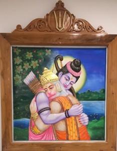 Marble carvings embellish- Lord Rama with Lord Hanuman