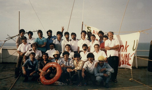 'Airlift' hijacks- Captain Juvale with his Crew aboard 'Safeer' in September 1990