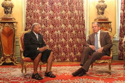 Fiji Prime Minister Voreqe Bainimarama and Russian Foreign Minister Sergey Lavrov meeting in Moscow in 2013. Photo: Fiji Government