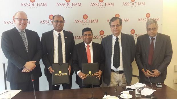 Grahame Morton (New Zealand's High Commissioner to India), Sunil Kaushal, Subhas Aggarwal, (Chairman, National Council on Microfinance, ASSOCHAM), Arvind Kumar (Advisor, ASSOCHAM), Babu Lal Jain (Member of Managing Committee, ASSOCHAM)