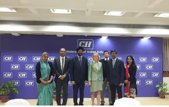 Kanwaljit Singh Bakshi with (from left) Sujata Sudarshan (Regional Director, ASEAN & ANZ, CII); Sunil Kaushal, Jane Cunliffe (Trade Commissioner, North India), Subhabrata Haldar (Senior Vice-President IIDC), Rajesh Menon (Deputy Director General, CII) A V Rajamany (Deputy Director ASEAN & ANZ, CII)