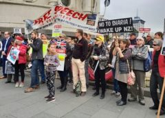 Rally against Canadian activists' speech ban in Auckland