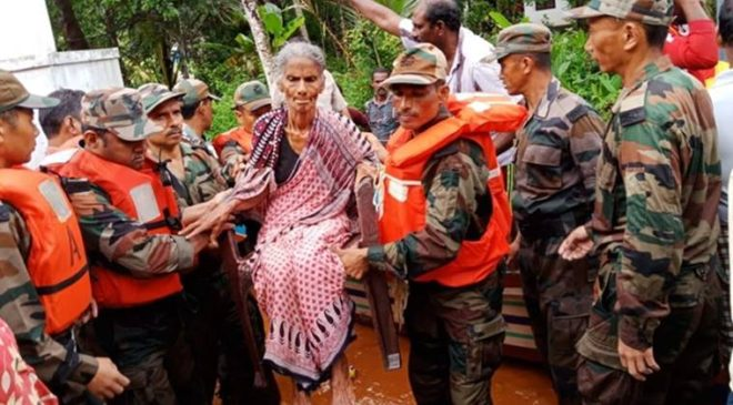 Footage shows the perilous journeys taken during unprecedented floods in Kerala which have left dozens dead