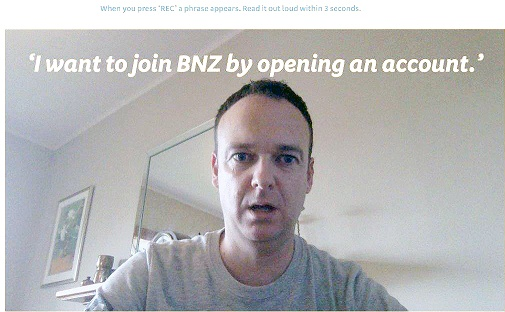 Selfie video to open BNZ Personal Account