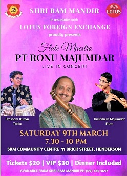 Flutist Ronu Majumdar to perform in Auckland