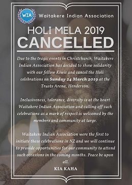 Waitakere Indian Association cancels Holi celebrations