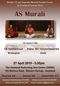 Three Carnatic Music masters to perform in Auckland