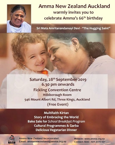 Birthday of 'Hugging Mother' this Saturday in Auckland