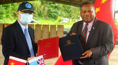 China gifts 47 special military vehicles to Fiji