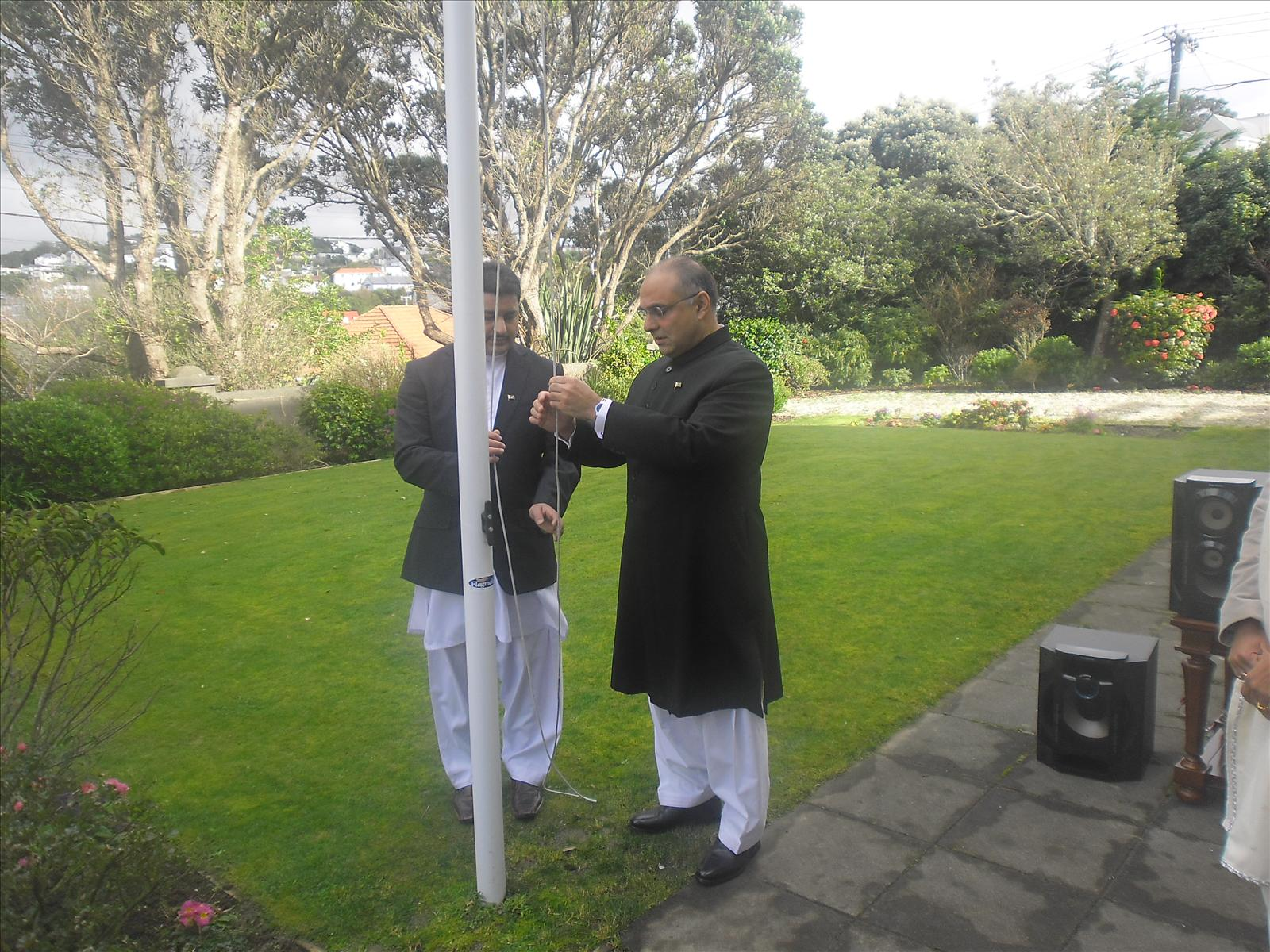 Pakistanis rejoice- Flag hoisting